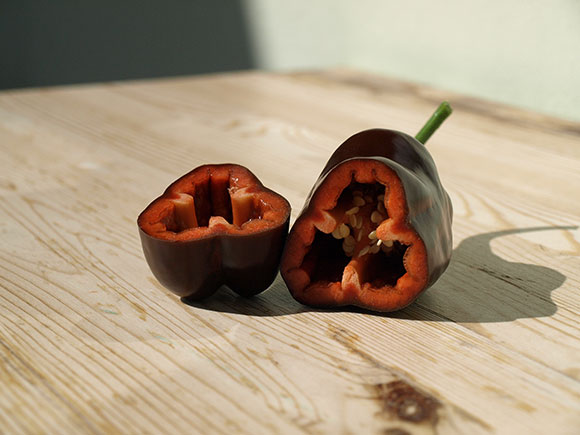 Paprika-aufgeschnitten